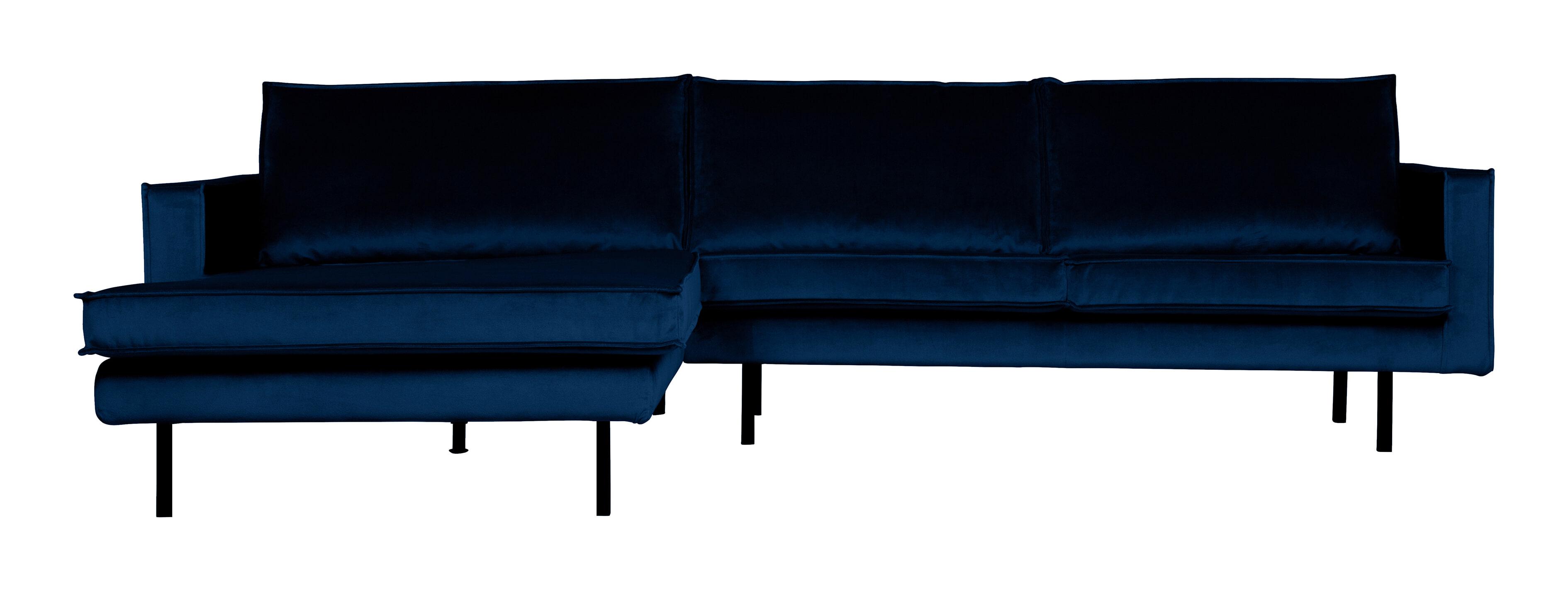 BePureHome Loungebank 'Rodeo' Links, Velvet, kleur Dark Blue