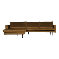 BePureHome Loungebank 'Rodeo' Links, Velvet, kleur Honing Geel