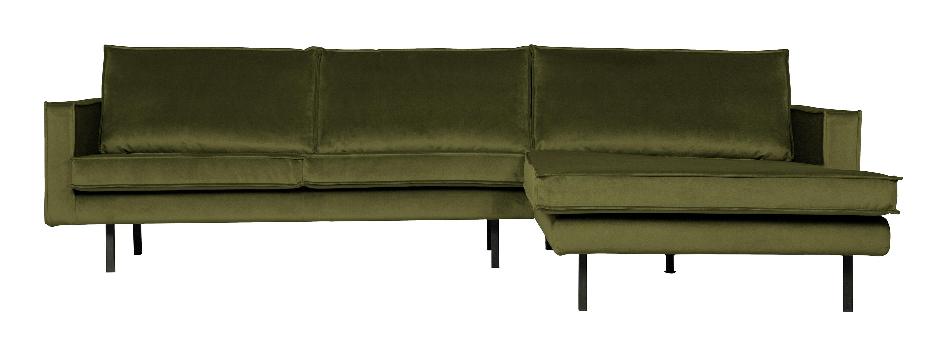 BePureHome Loungebank 'Rodeo' Rechts, Velvet, kleur Olive