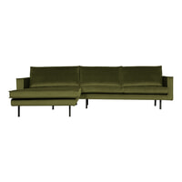 BePureHome Loungebank 'Rodeo' Links, Velvet, kleur Olive