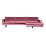 BePureHome Loungebank 'Rodeo' Rechts, Velvet, kleur Roze
