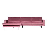 BePureHome Loungebank 'Rodeo' Links, Velvet, kleur Roze