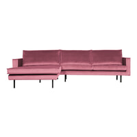 BePureHome Loungebank 'Rodeo' Links, Velvet, kleur Roze