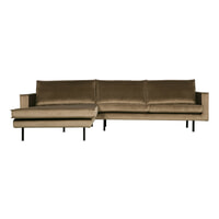 BePureHome Loungebank 'Rodeo' Links, Velvet, kleur Taupe