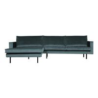 BePureHome Loungebank 'Rodeo' Links, Velvet, kleur Teal