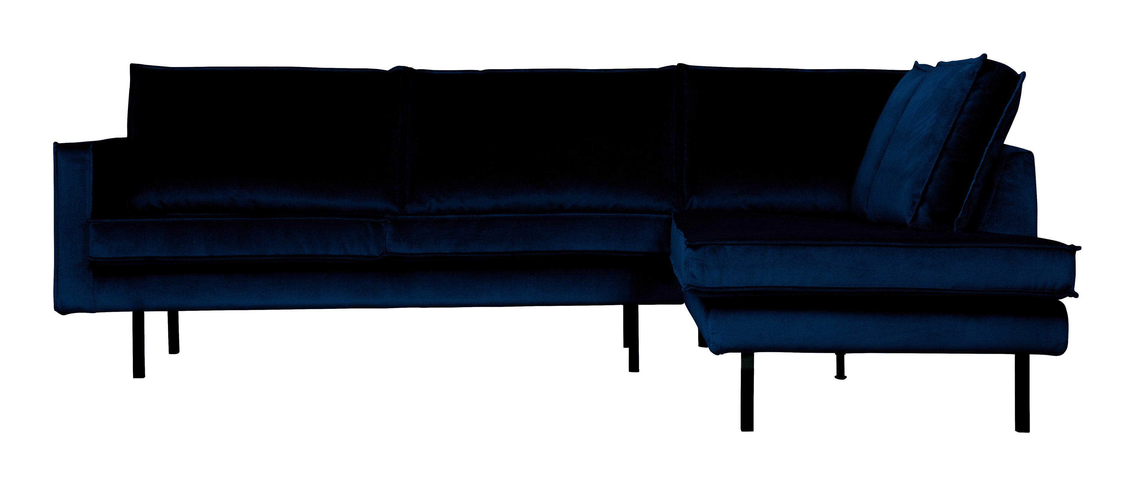 BePureHome Hoekbank 'Rodeo' Rechts, Velvet, kleur Dark Blue