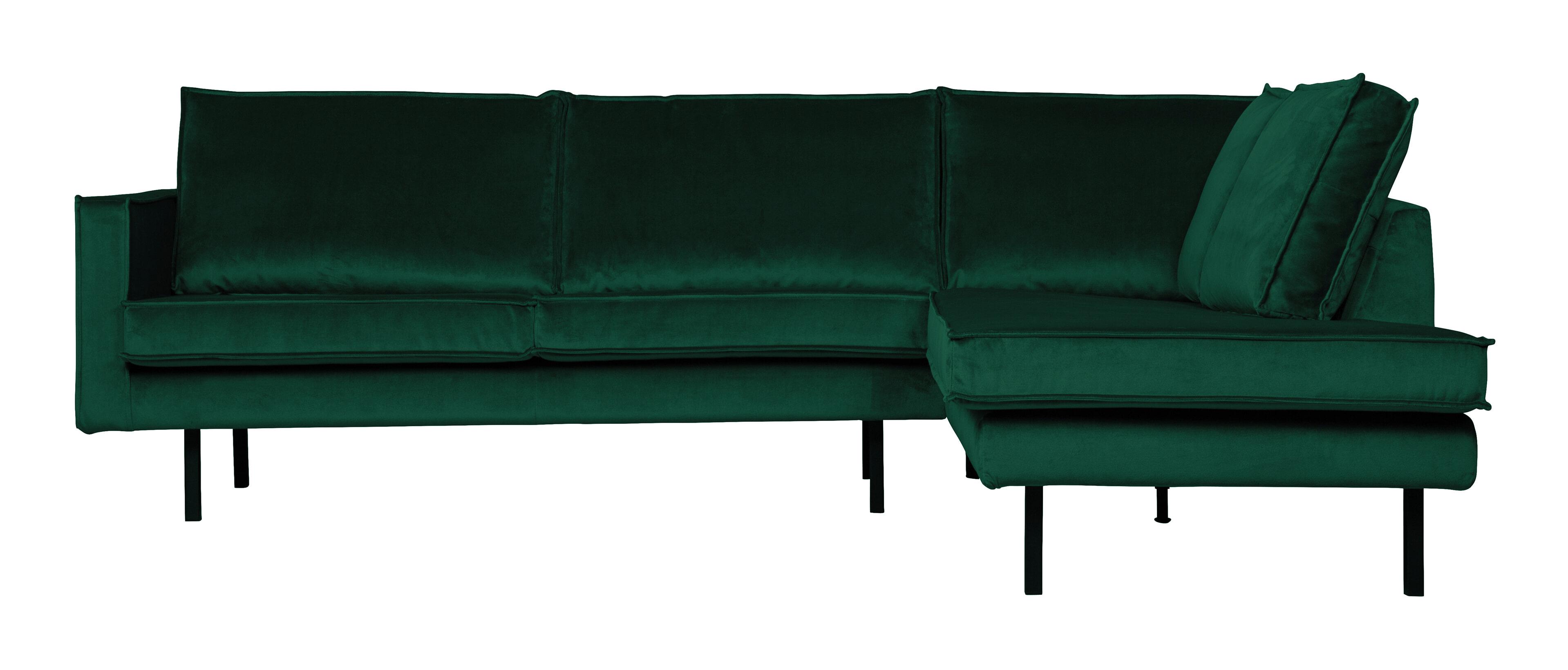 BePureHome Hoekbank 'Rodeo' Rechts, Velvet, kleur Green Forest