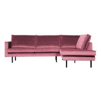 BePureHome Hoekbank 'Rodeo' Rechts, Velvet, kleur Roze
