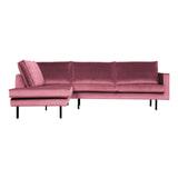 BePureHome Hoekbank 'Rodeo' Links, Velvet, kleur Roze