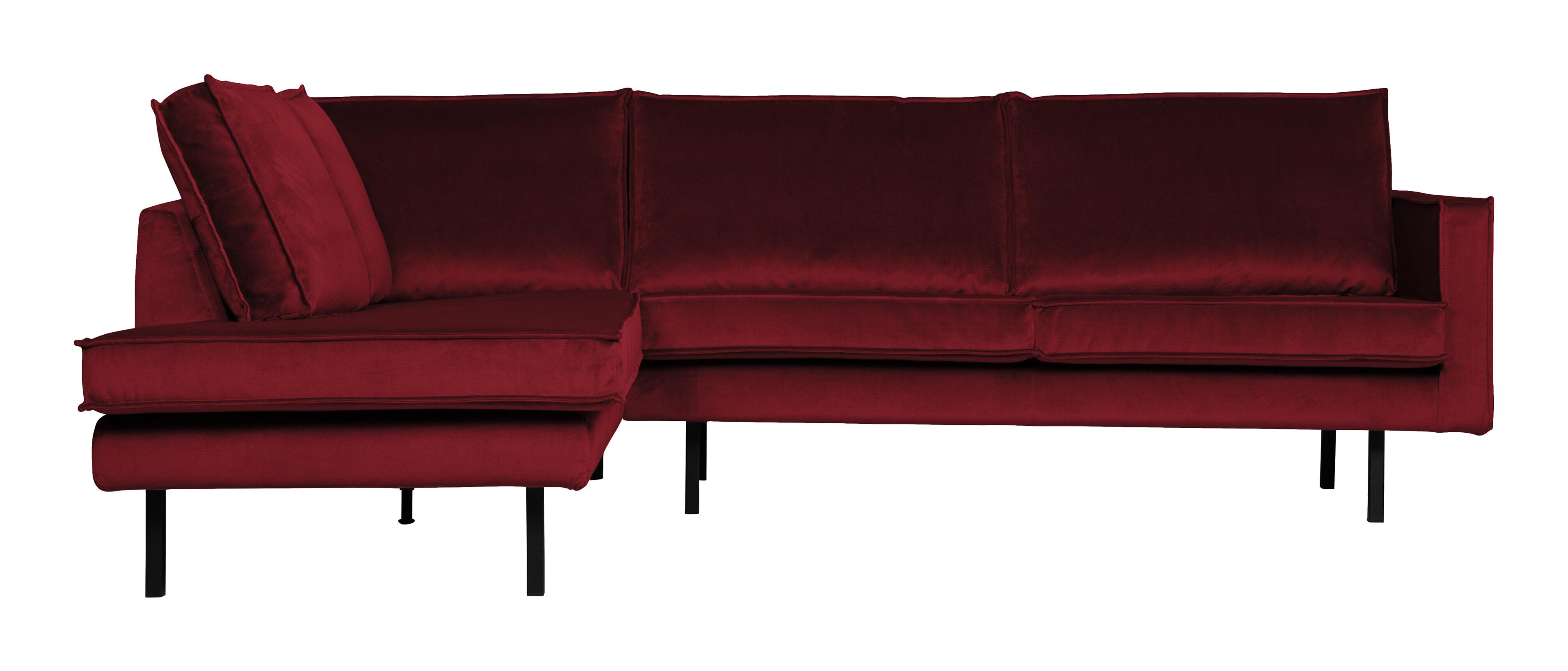BePureHome Hoekbank 'Rodeo' Links, Velvet, kleur Rood