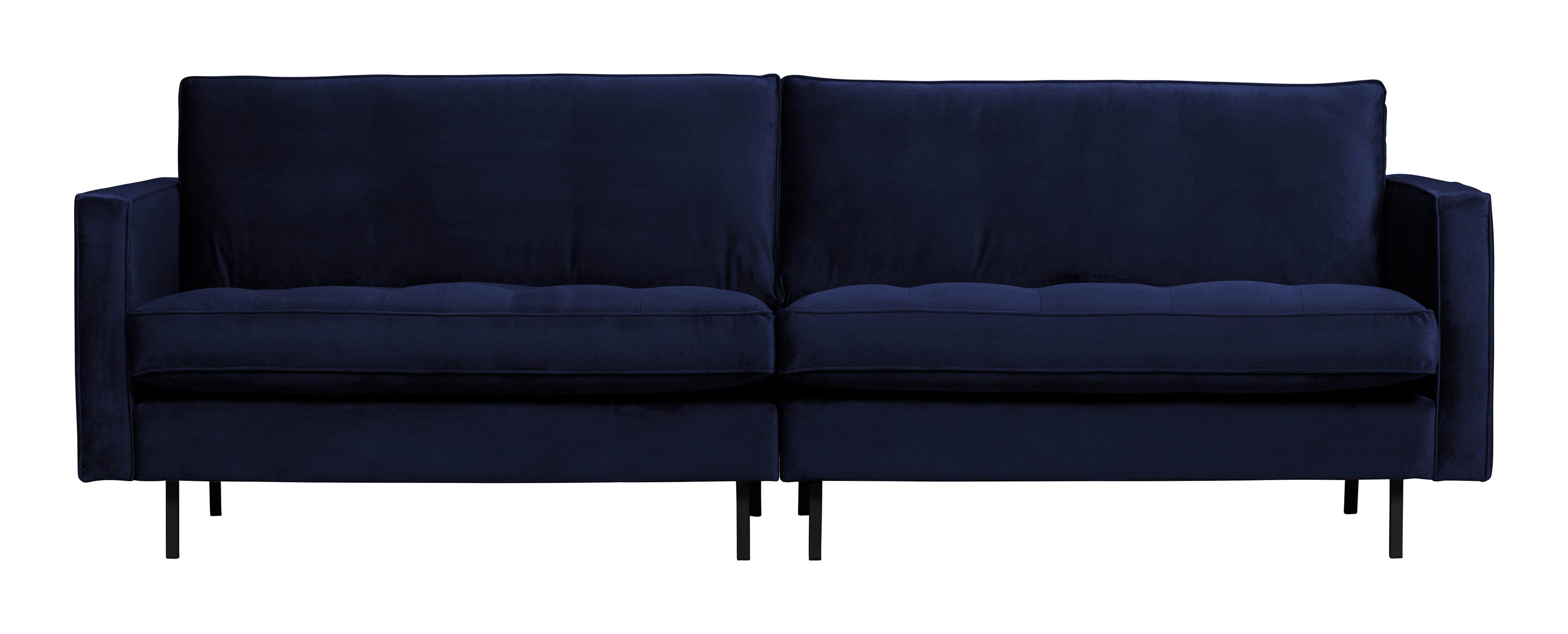 BePureHome Bank 'Rodeo' 3-zits, Velvet, kleur Dark Blue