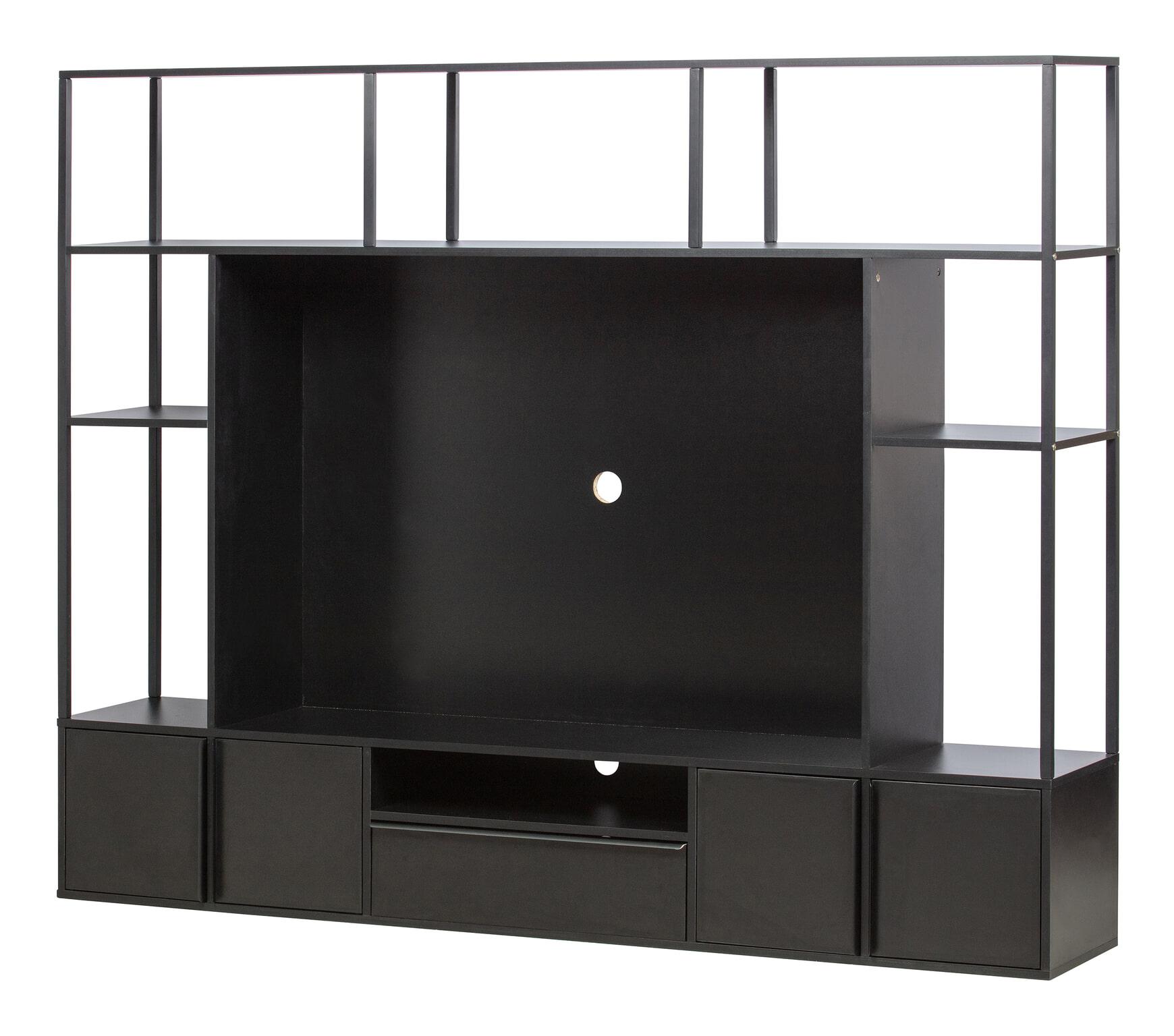 Woood Tv Meubel.Woood Tv Meubel Toby 160 X 200cm Kleur Zwart 373323 Z