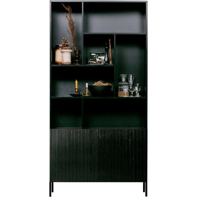 WOOOD Wandkast 'Gravure' 200 x 100cm, kleur Zwart