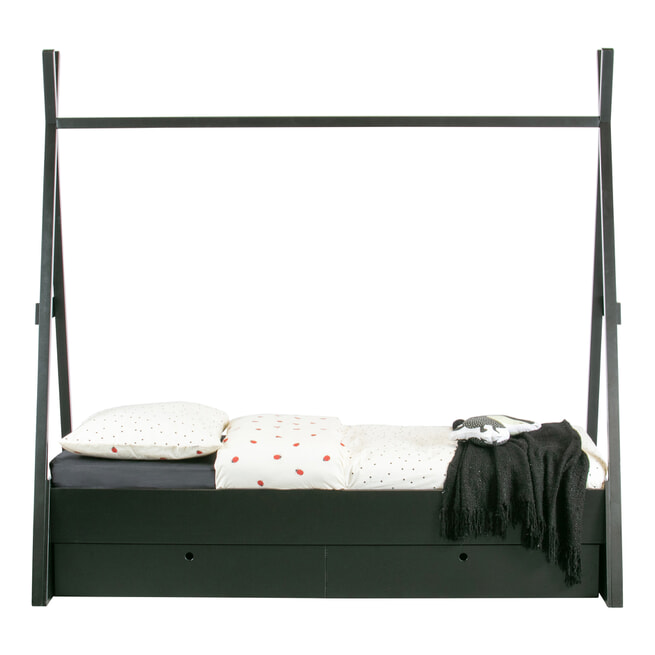 WOOOD Kinderbed 'Joep' kleur Zwart