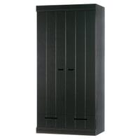 WOOOD Kledingkast 'Connect' 2 deuren en 1 lade, kleur Zwart