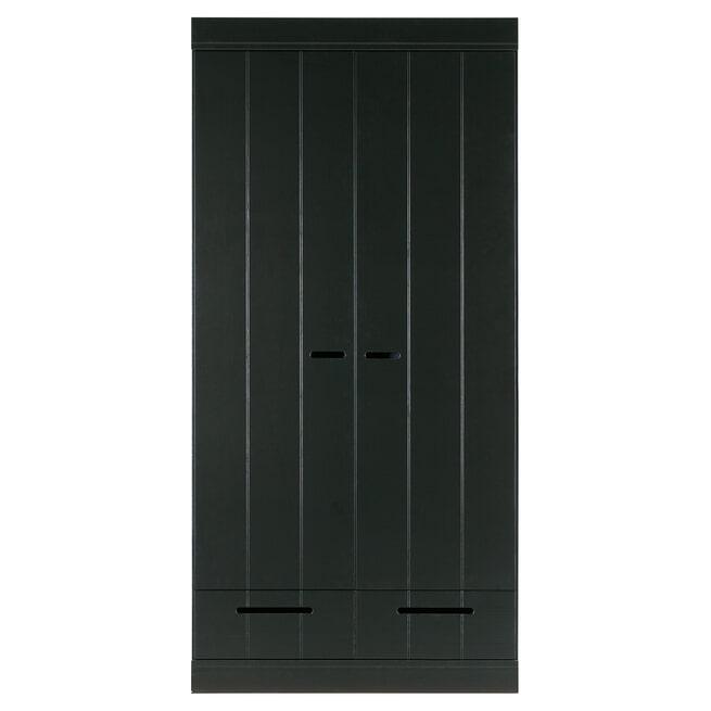 WOOOD Kledingkast 'Connect' 2 deuren en 2 laden, kleur Zwart