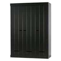 WOOOD Kledingkast 'Connect' 3 deuren en 1 lade, kleur Zwart