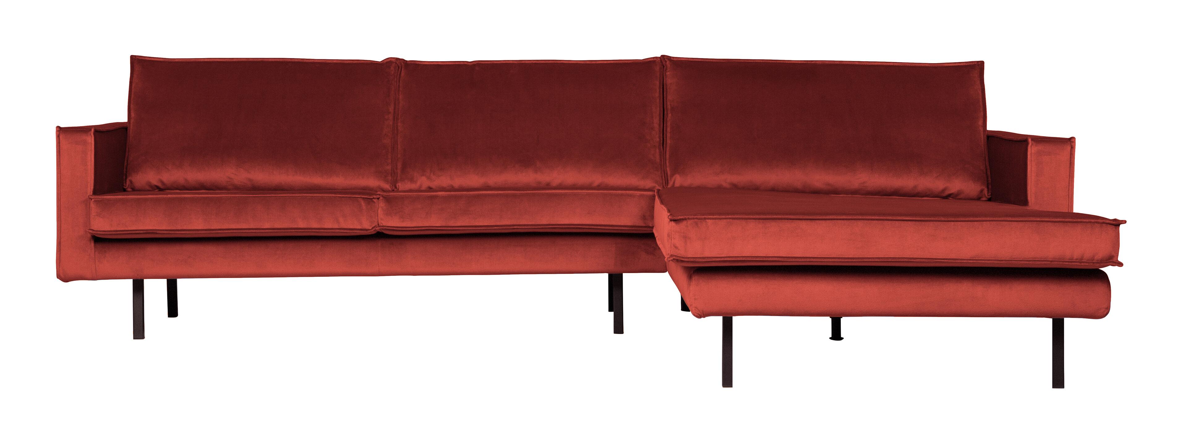 BePureHome Loungebank 'Rodeo' Rechts, Velvet, kleur Chestnut