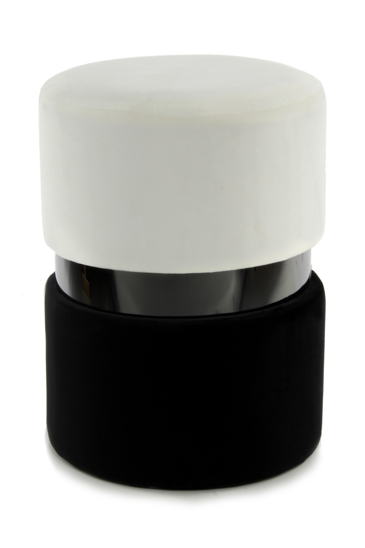 Kayoom Poef 'Zara' 35cm, kleur crème / zwart