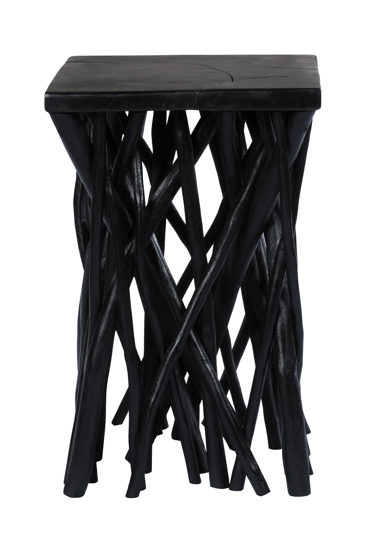 Kayoom Bijzettafel 'Radix' Teakhout, 40 x 40cm, kleur zwart