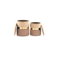 Kayoom Poef 'Zora' set van 2 stuks, kleur bruin