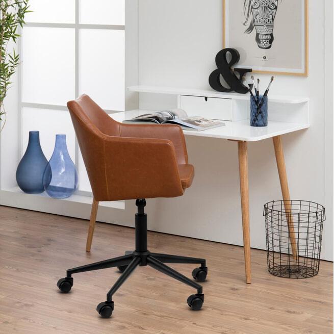 Bendt Bureaustoel 'Rikke' PU, kleur Donkerbruin