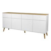Tenzo Dressoir 'Dot' 192 x 86cm, kleur Wit/Eiken
