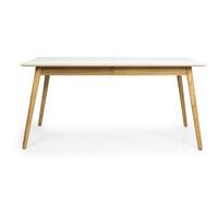 Tenzo Uitschuifbare Eettafel 'Dot' 160-205 x 90cm, kleur Wit Gelamineerd/Eiken