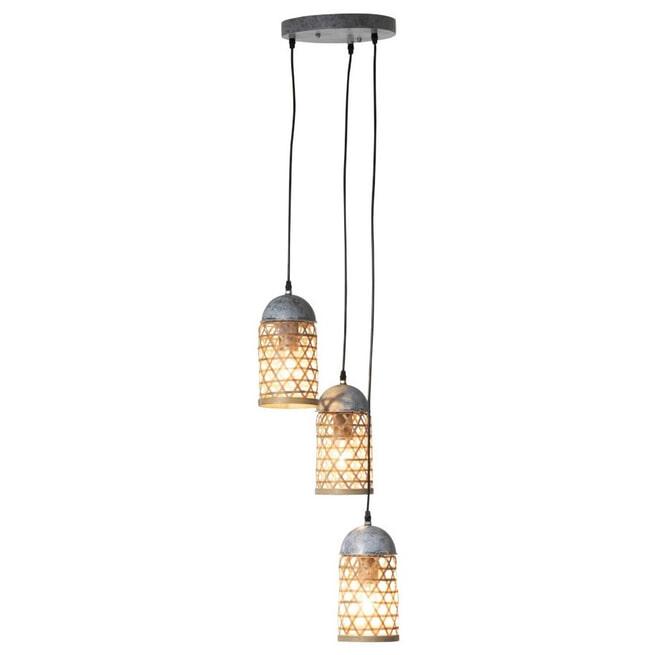 J-Line Hanglamp 'Yamna' 3-Lamps, kleur Naturel