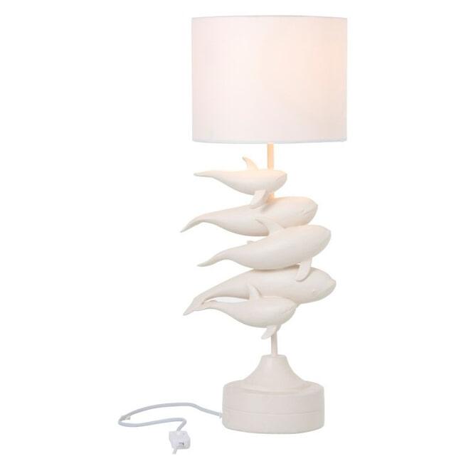 J-Line Tafellamp 'Romaan' Dolfijnen, kleur Wit