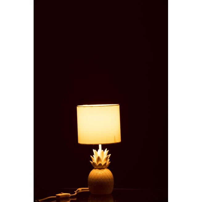 J-Line Tafellamp 'Rogier' Ananas, kleur Wit