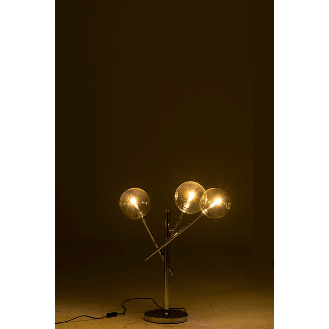 J-Line Tafellamp 'Ludgarde' 3-lamps, kleur Zilver