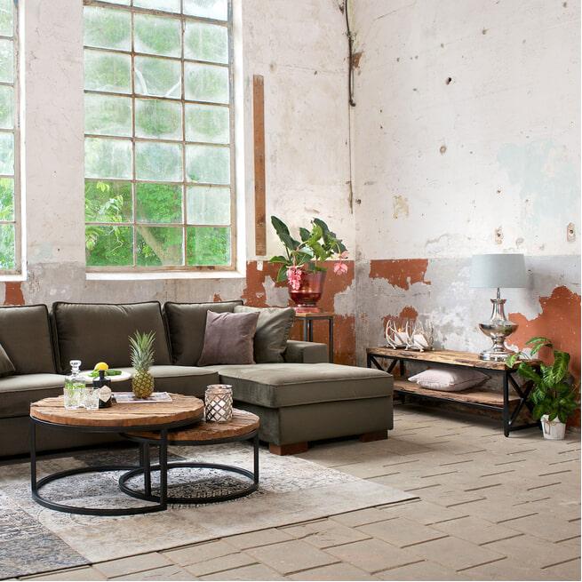 Richmond TV-meubel 'Industrial Kensington' 140cm, Gerecycled Hout en Staal