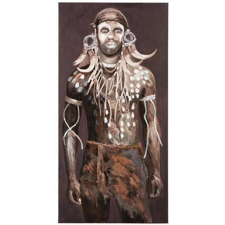 J-Line Schilderij 'Maria-Magdalena' Man, kleur Bruin / Wit