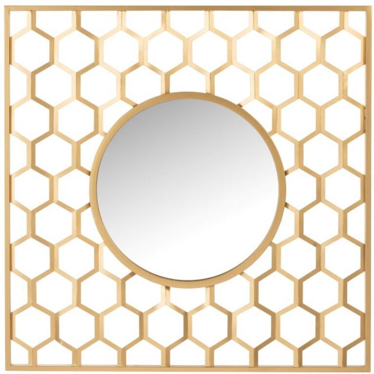 J-Line Spiegel 'Nicolaas' Honingraat, kleur Goud