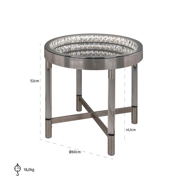 Richmond Bijzettafel 'Lexi' met verlichting, kleur Zilver
