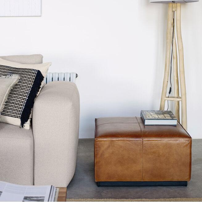 Kave Home Hocker 'Cesia' Leer, kleur Bruin