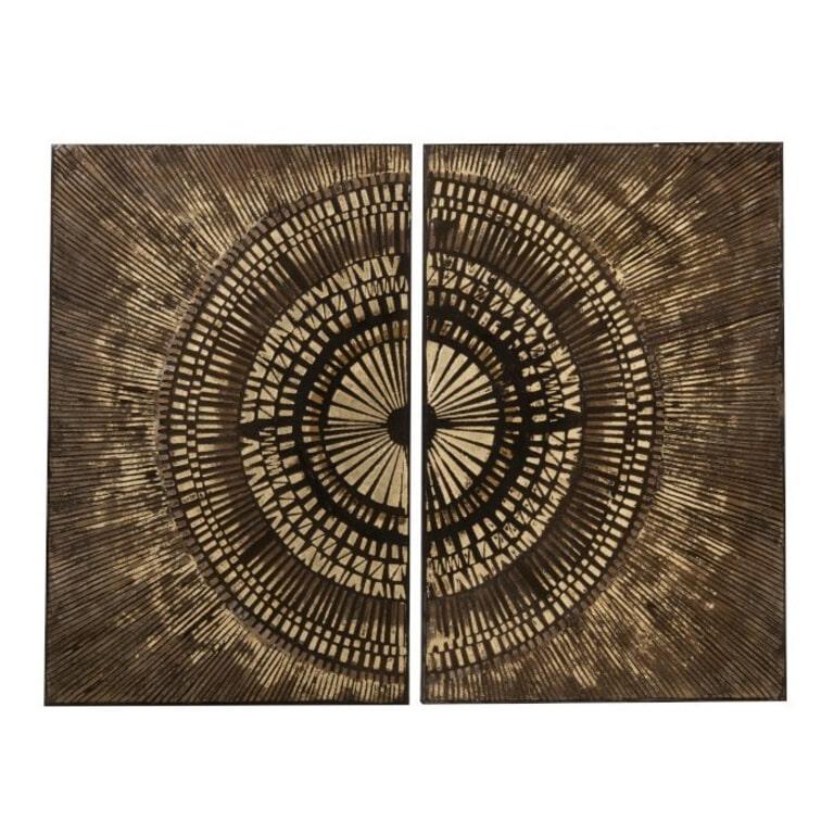J-Line Set van 2 schilderijen 'Alfrida' Canvas, kleur goud