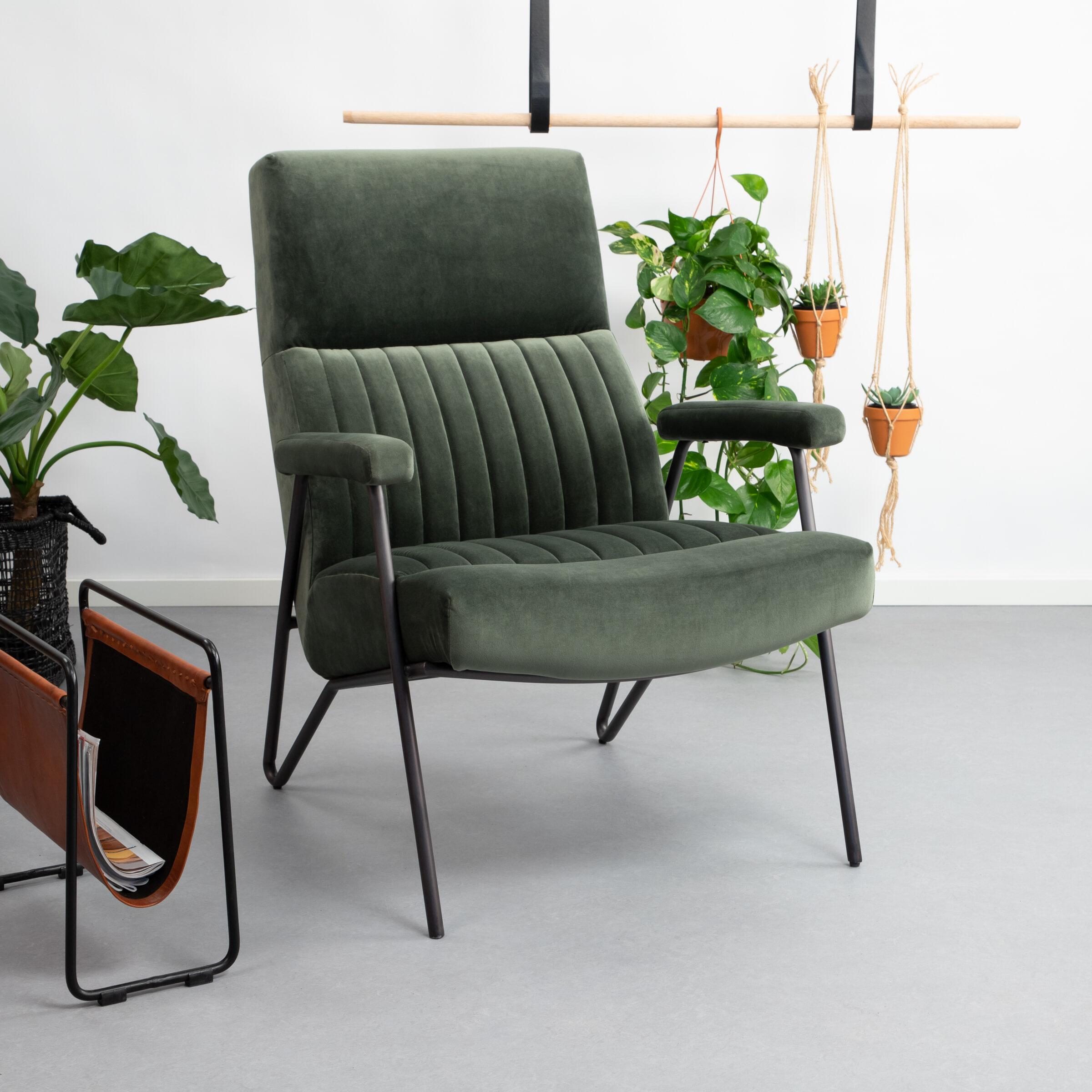Sohome Fauteuil 'Suzanne' Velvet, kleur groen
