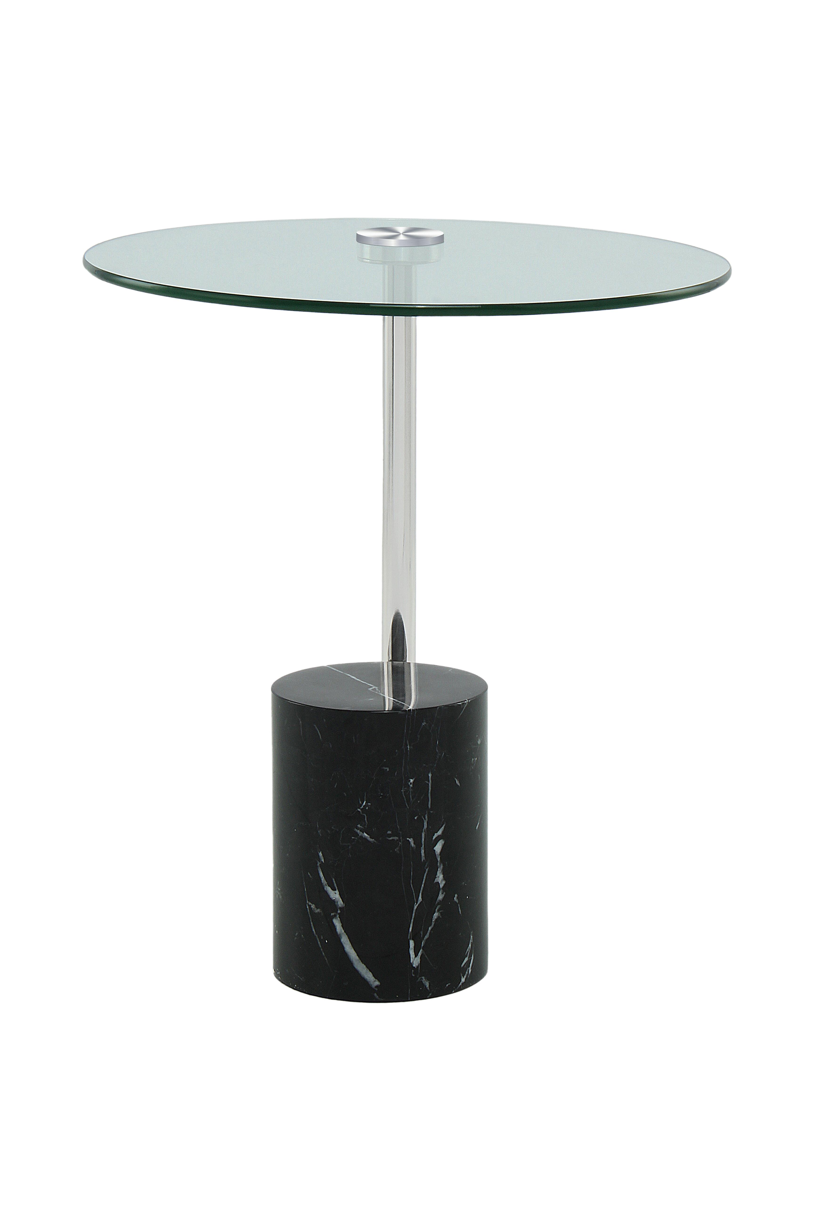 Kayoom Bijzettafel 'Rosario' Marmer, 44cm, kleur zwart / zilver