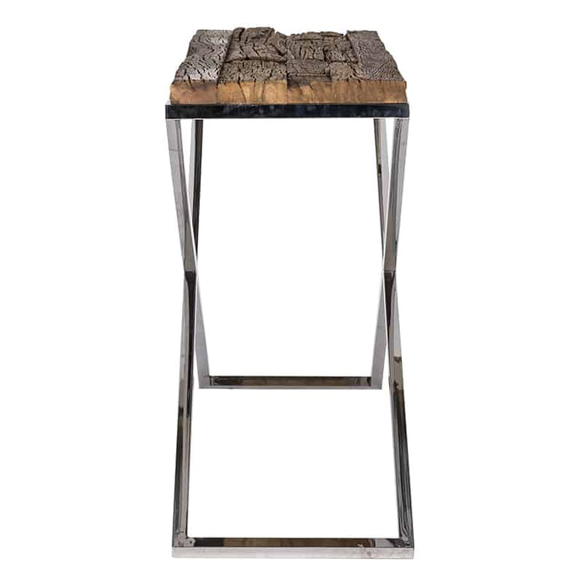 Richmond Sidetable 'Kensington' RVS en Mangohout, 140 x 40cm