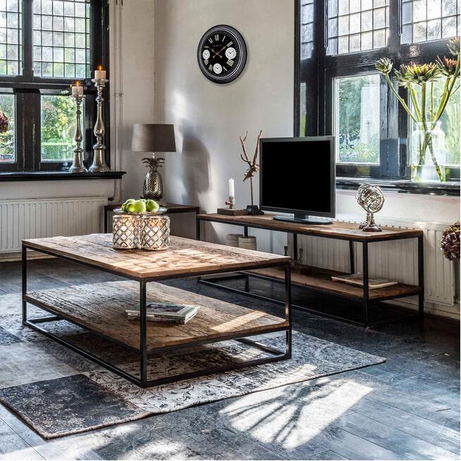 Richmond TV-meubel 'Raffles' Staal en gerecyceld hout, 161cm