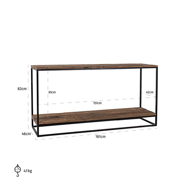 Richmond Sidetable 'Raffles' Staal en gerecyceld hout, 161cm