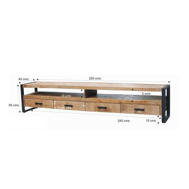 LivingFurn TV-meubel 'Strong' Mangohout en staal, 250cm