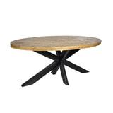 LivingFurn Ovale Eettafel 'Strong' 210cm, kleur Naturel