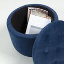 Kave Home Poef 'Sonbran' met opbergruimte, kleur Velvet Donkerblauw
