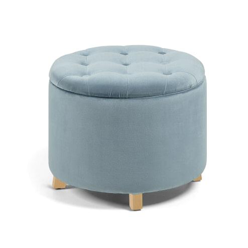 Kave Home Poef 'Sonbran' met opbergruimte, kleur Velvet Lichtblauw
