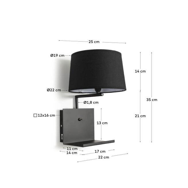 Kave Home Wandlamp 'Neala' met USB aansluiting