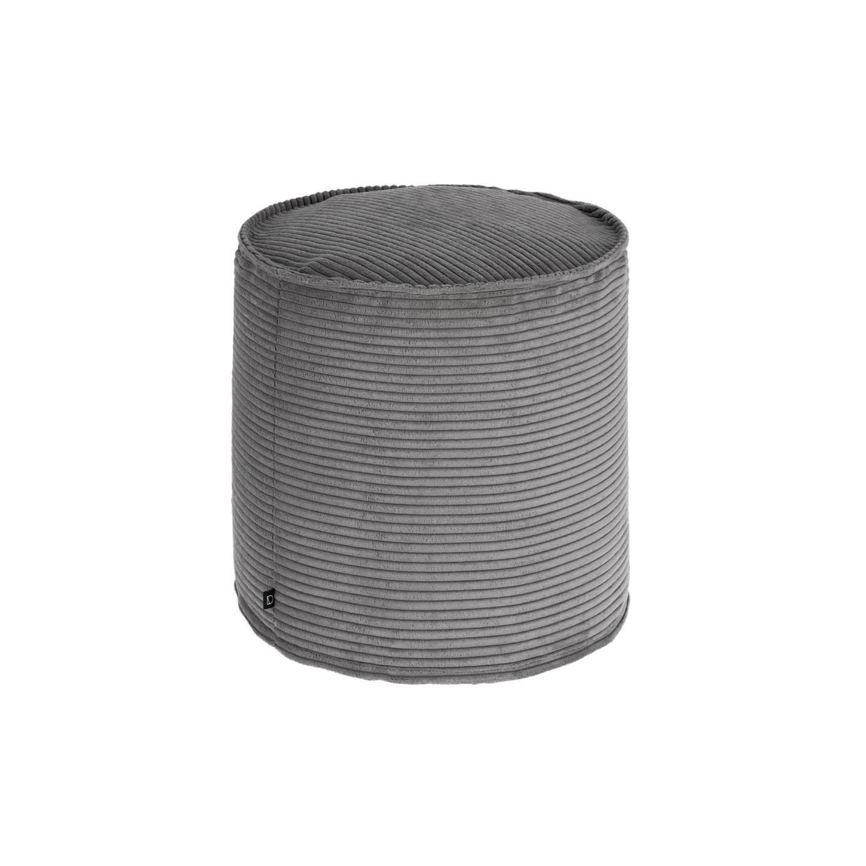 Kave Home Poef 'Zina' Rib, 40cm, kleur Donkergrijs