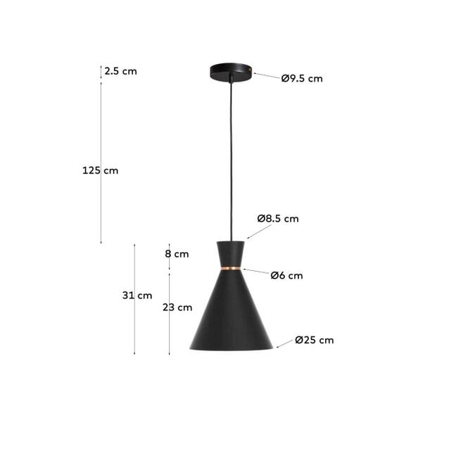 Kave Home Hanglamp 'Vesta', kleur Zwart
